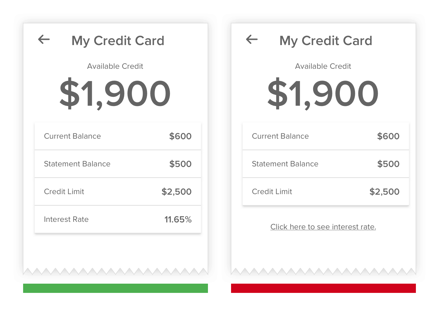 my credit card - showing info