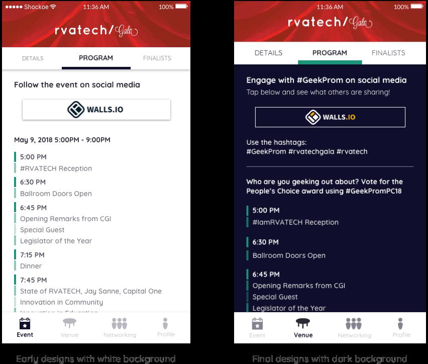 dark and white comparison richtech event app