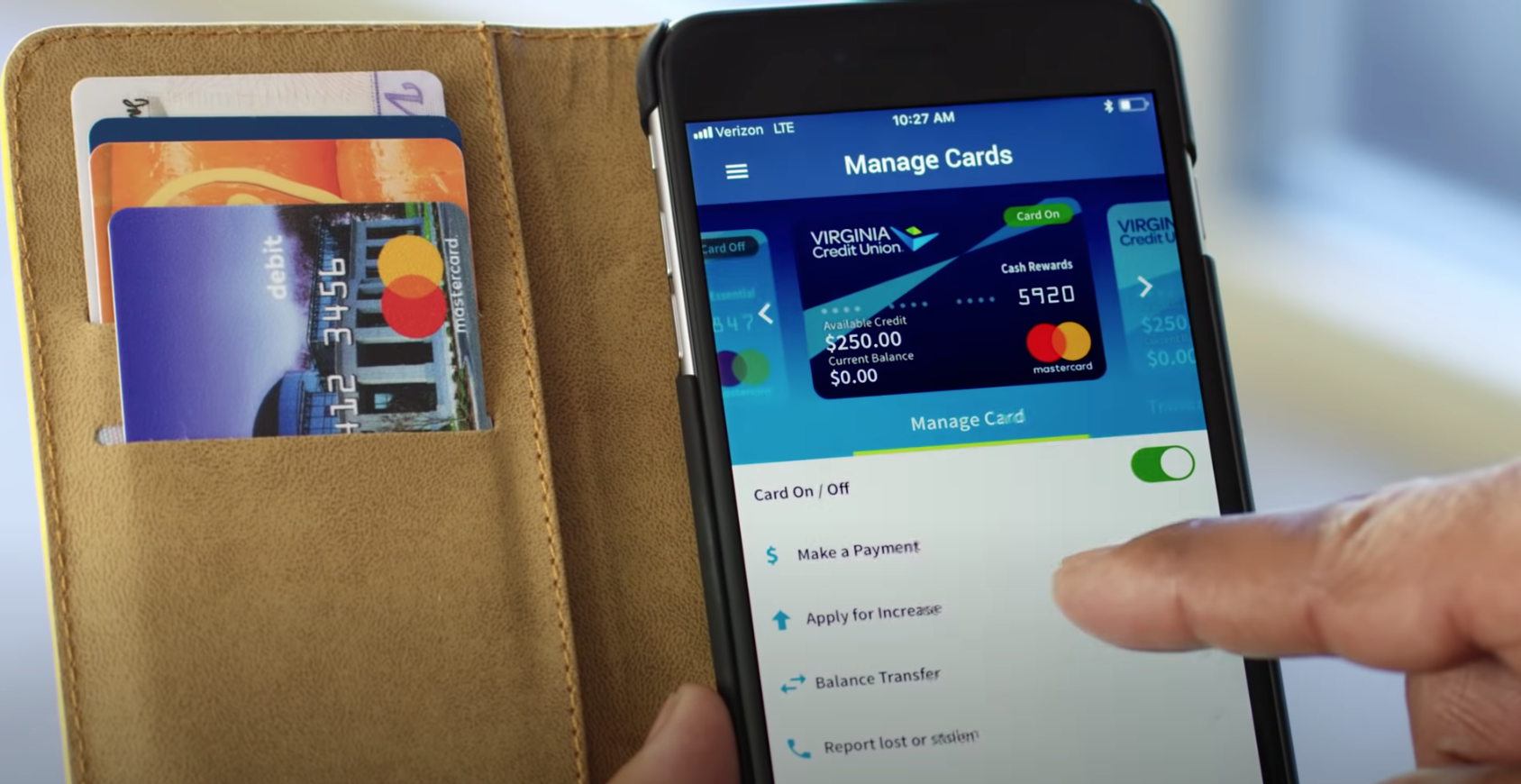 card management banking app